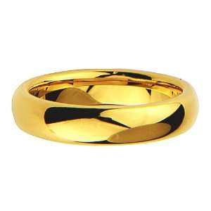 5mm Mens Cobalt Free Tungsten Carbide Gold Plated COMFORT FIT Wedding