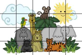 JUNGLE ANIMALS MURAL NURSERY BABY WALL STICKERS DECALS