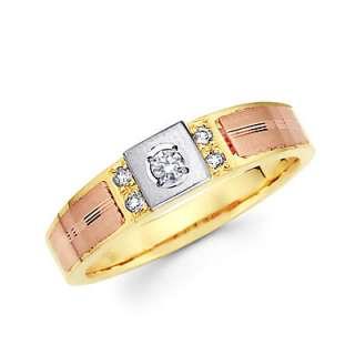 14k Tri Color Gold Engagement Wedding Diamond Ring Set