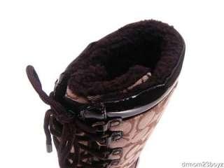 New NIB Coach Peggey Signature Khaki Brown Winter Snow Boots 9.5