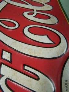VINTAGE OLD COCA COLA COKE METAL ADVERTISING SIGN EMBOSSED DRINK COCA