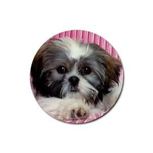 Shih tzu cute puppy Round Rubber Coaster set 4 pack Great