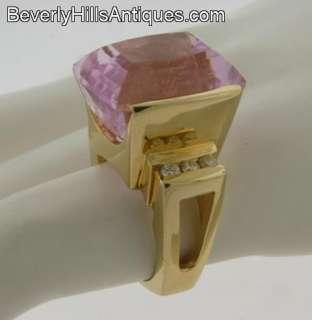 Superb Designer Large Kunzite Diamonds 14k Yellow Gold Ring