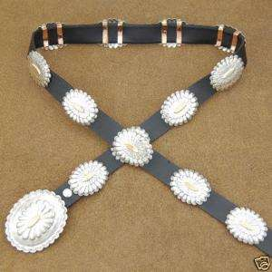 BEAUTIFUL SILVER & GOLD NAVAJO CRAFTED CONCHO BELT