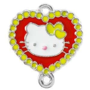 DIY Jewelry 12x Heart bordered Hello Kitty Enamel Pendant