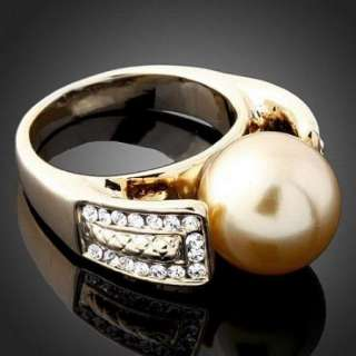 ARINNA Swarovski Crystal pearl 18K gold GP Finger Rings