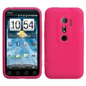 Solid Hot Pink Silicone Skin Gel Cover Case For HTC EVO 3D