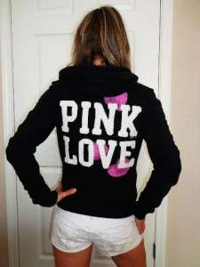 VICTORIAS SECRET PINK LOVE Zip Up Black Hoodie Sweat Shirt sz S