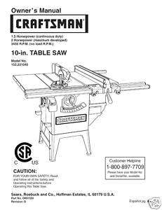 Craftsman Table Saw Manual Model # 152.221040