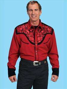 765r Scully Western Cowboy Snap Shirt Floral Embroidery XL Retro