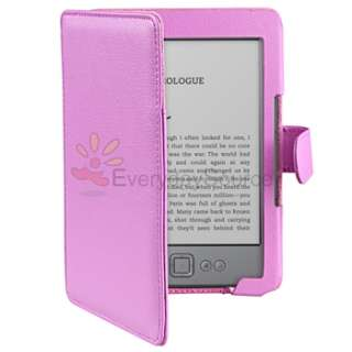 Purple Leather Pouch Case Cover Skin+Portable Reading Light For