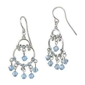 and Light Blue Crystallized Swarovski Elements Chandelier Earrings