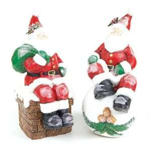 Sitting Santa Paper Mache Sculpture, Set of 2