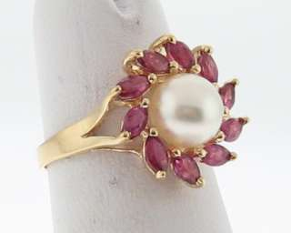 Cultured Pearl Natural Ruby Solid 14k Yellow Gold Ring FREE Sizing