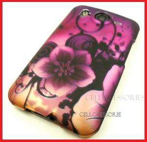 HTC INSPIRE 4G AT&T PURPLE PINK FLOWERS HARD COVER CASE