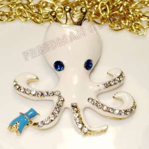Betsey Johnson Octopus, crown, crystal cz stud earrings necklace
