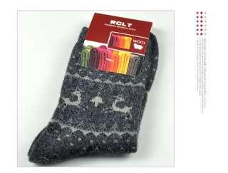 2011 Christmas Reindeer Socks Winter Warm Womens Socks Wool Angora