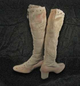 1970s BONE/PINK VINYL GOGO BOOTS SZ 5.5M KNEE HIGH MOD MINI DEADSTOCK