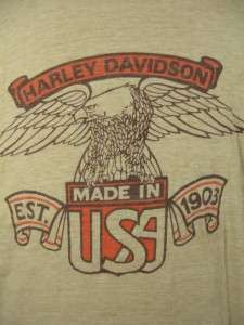 VINTAGE 70S HARLEY DAVIDSON DEALER T SHIRT DAYTONA BEACH LARGE