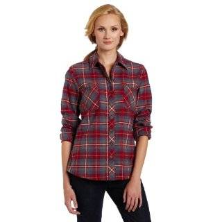 Long Sleeve Plaid Flannel Shirt, Cherry Slate Blue Plaid, X Large