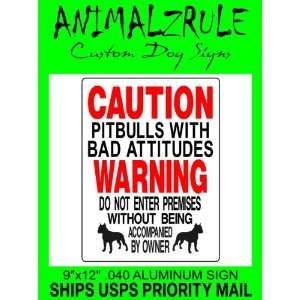 PITBULL DOG SIGN ALUMINUM 9x12