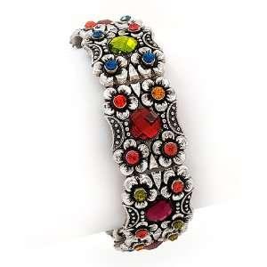 Multi Colored Crystal Flower Stretch Bracelet Fashion Jewelry Jewelry