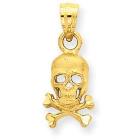 14K Skull and Cross Bones Pendant   Measures 19.2x7.9mm   JewelryWeb