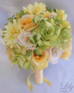 Bridal Bouquet Set Decoration Package Silk Flowers YELLOW GREEN