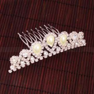 Elegant Pearl Rhinestone inlay Crown Tiara Hair Comb