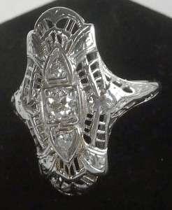 ANTIQUE 18K WHITE GOLD ART DECO 3 STONE EUROPEAN DIAMOND LONG FILIGREE