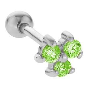 2mm Peridot Three Gem 14K White Gold Cartilage Stud Earring Jewelry