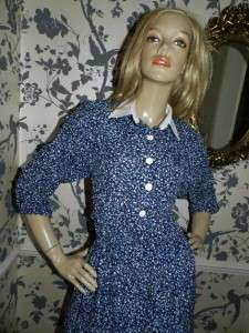 VINTAGE 70s BLUE DITSY PRINT CONTRAST COLLAR DAY DRESS 14