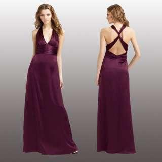 Halter Neck Evening Gown Formal Dress Plum Size AU 16