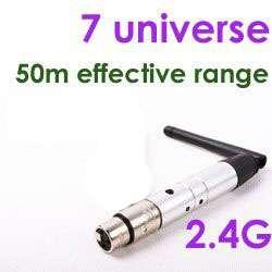 1X Wireless DMX Transmitter Receiver 7 Universes 50Meter Range 2.4G