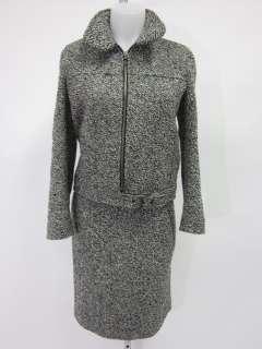 CESARE FABBRI White Blue Black Jacket Skirt Suit Sz 40