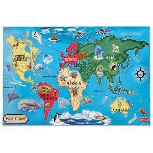Melissa & Doug World Map 33 pcs Floor Puzzle Toys & Games