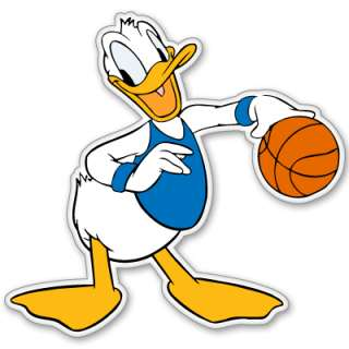 Disney Donald Duck Basketball bumper sticker 4 x 4