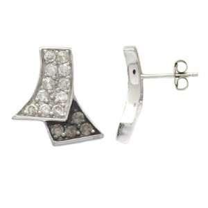1 Carat Chocolate & White Diamond 14k White gold Earrings