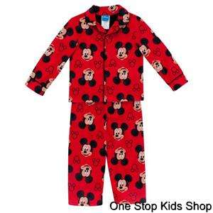 MICKEY MOUSE Boys 2T 3T 4T Pjs Set FLANNEL PAJAMAS Pants Shirt DISNEY