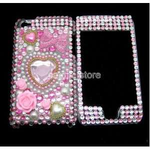Pink Love Bowknot Diamond Bling Case Skin Covers for Apple