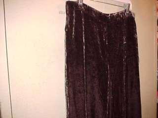Ralph Lauren Brown Silk Bl Velvet Pants 14 Large