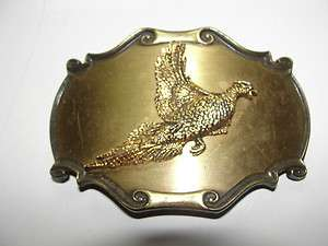 PHEASANT BRASS BELT BUCKLE,1980,MADE BY RAINTREE,QUALITY BUCKLE