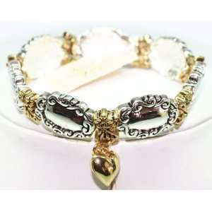 Kirks Folly 2 Tone Stretch Bracelet with Heart Charm