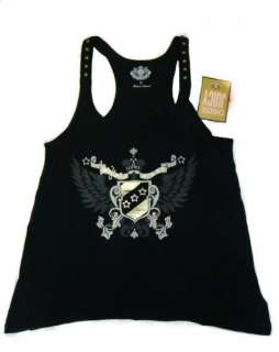 NWT Juicy Couture Womens Crest Wings Logo Black Racer Back Tank Top