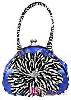 handbag description new rhinestone zebra flower fashion purse clutch