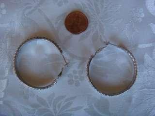 Pair of jewelry silver tone CZ round hoop earrings 50mm