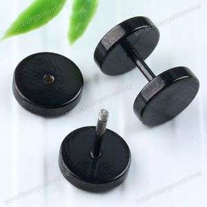 Black Stainless Steel Plug MENS Earrings Ear Studs Round Punk Classic