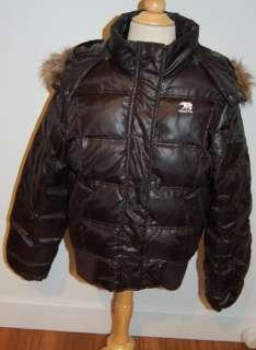 PREDATOR Down Filled PUFFY Hooded Parka  sz XL  Black  Faux Fur Edge