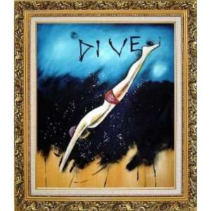 Diving, Modern Pop Art Oil Painting, with Ornate Antique