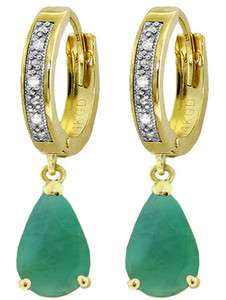 GAT 14K. SOLID GOLD HOOP EARRING WITH DIAMONDS & EMERALDS